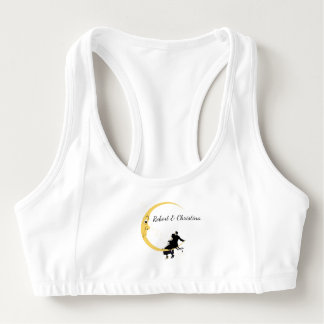 Funny Crescent Moon Angry Face Romantic Couple Sports Bra