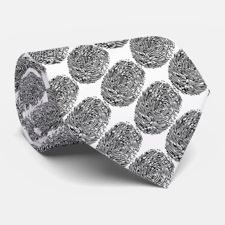 Funny criminal black&white fingerprints for police tie