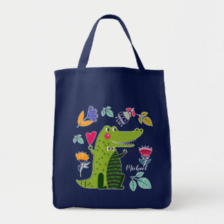 Funny Crocodile | Custom Name Gift Tote Bags