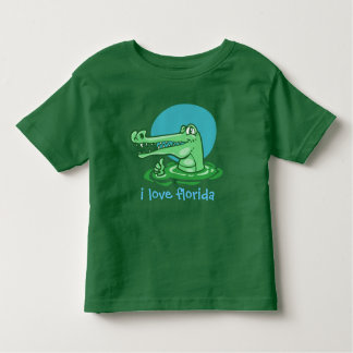 funny crocodile i love florida cartoon toddler T-Shirt