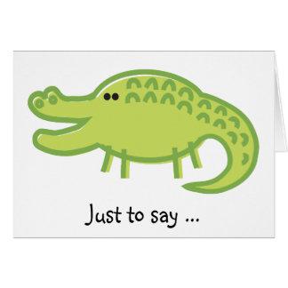 Funny Crocodile on White Card