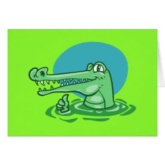 funny crocodile shown ok sign cartoon card