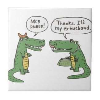Funny Crocodile Small Square Tile
