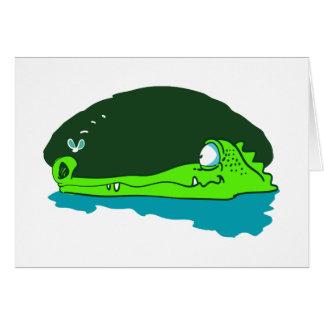 funny crocodile wathes fly cartoon card