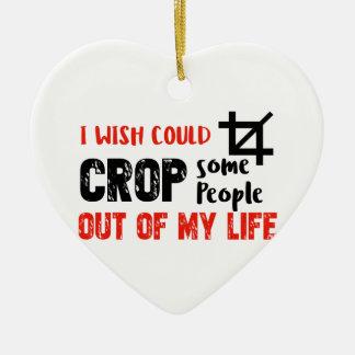 Funny crop people Geek designs Ceramic Heart Decoration