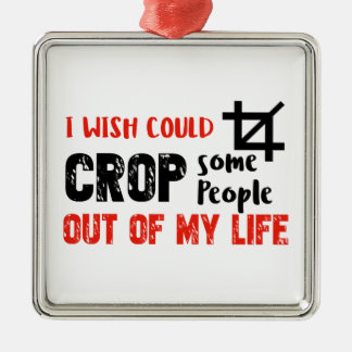 Funny crop people Geek designs Metal Ornament