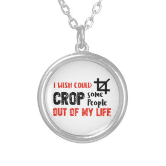 Funny crop people Geek designs Silver Plated Necklace