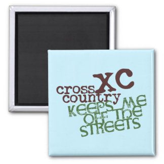 Funny Cross Country Running © Keeps me off Streets Square Magnet