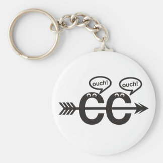 Funny Cross Country Running Runner Keychain- Ouch! Basic Round Button Key Ring