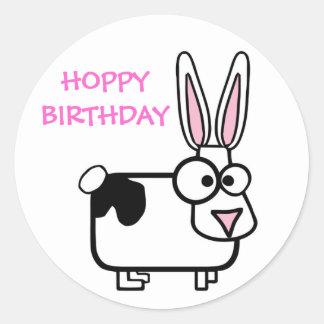 Funny Cross Eyed Cartoon Rabbit Happy Birthday Round Sticker