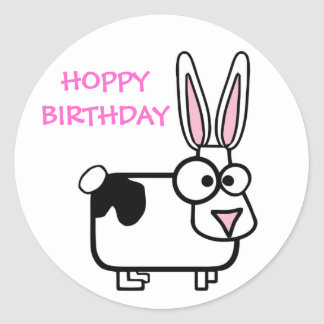 Funny Cross Eyed Cartoon Rabbit Happy Birthday Round Sticker