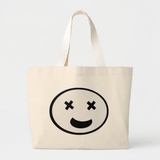 Funny cross eyed face large tote bag