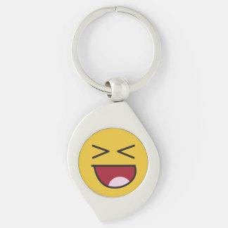 Funny crossed eyed laughing Emoji Key Ring
