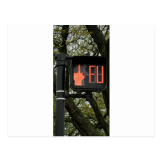 Funny Crosswalk says FU Postcard