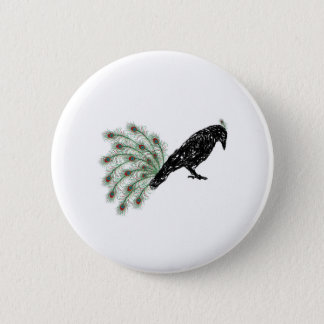 funny crow 6 cm round badge