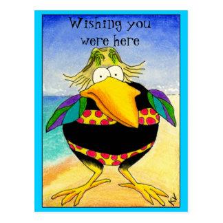 Funny Crow Beach Vacation postcard