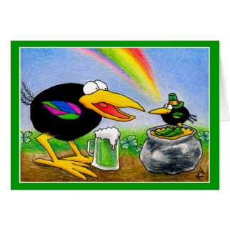 Funny Crow with Leprechaun St. Paddy's Day Card