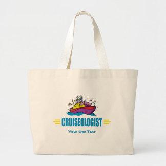 Funny Cruise Ship Caribbean Travel Fan Large Tote Bag