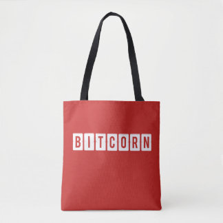 Funny Cryptocurrency Bitcorn Red Tote Bag