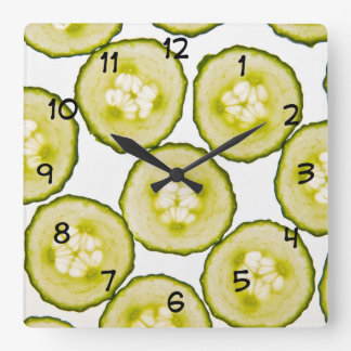 Funny Cucumbers Food Theme Square Wall Clock
