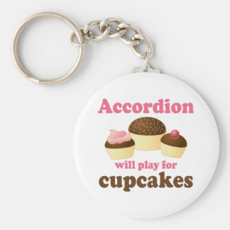 Funny Cupcake Accordion Music Quote Gift Key Ring