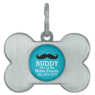 Funny Curled Black Mustache Pet Name Tag