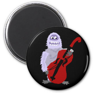 Funny Cute Abominable Snowman with Cello 6 Cm Round Magnet