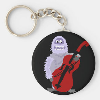 Funny Cute Abominable Snowman with Cello Basic Round Button Key Ring