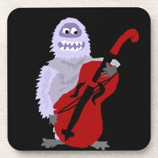 Funny Cute Abominable Snowman with Cello Coaster