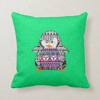 Funny Cute Aztec Penguin on Green Background Cushion