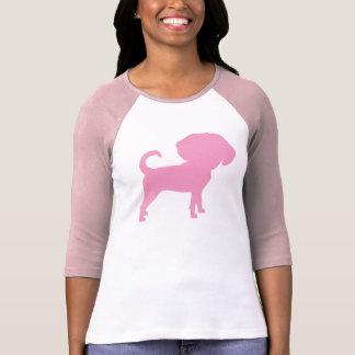 Funny Cute Big Head Puggle Dog (pink) T-Shirt