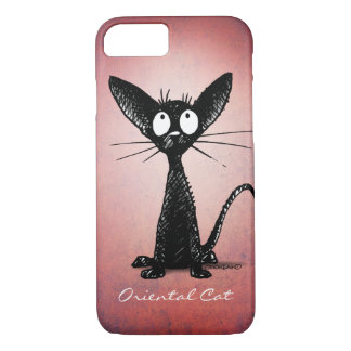 Funny Cute Black Oriental Cat Art on Pink iPhone 8/7 Case