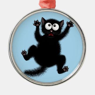 Funny Cute Black Scared Cartoon Cat, kitten Metal Ornament