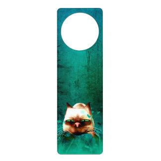 Funny, cute cartoon cat in the green wood door hangers