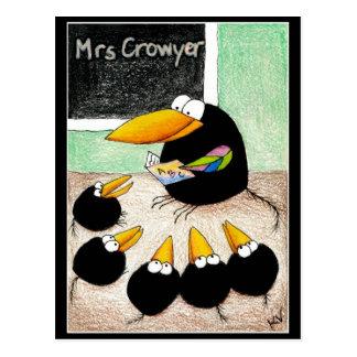Funny Cute Crow Teacher Students Class postcard V2