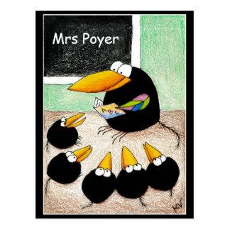 Funny Cute Crow Teacher Students Classpostcard Postcard