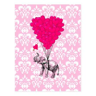 Funny cute elephant & pink damask postcard