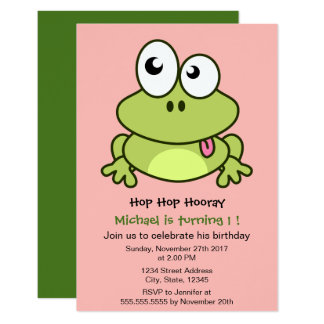 Funny cute frog cartoon kids birthday party card