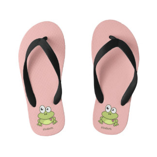 Funny cute frog cartoon name thongs