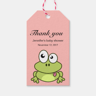 Funny cute frog cartoon thank you baby shower gift tags