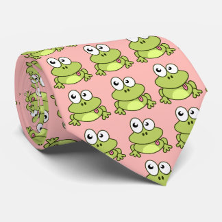 Funny cute frog cartoon tie