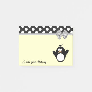 Funny cute girly penguin polka dots monogram post-it notes