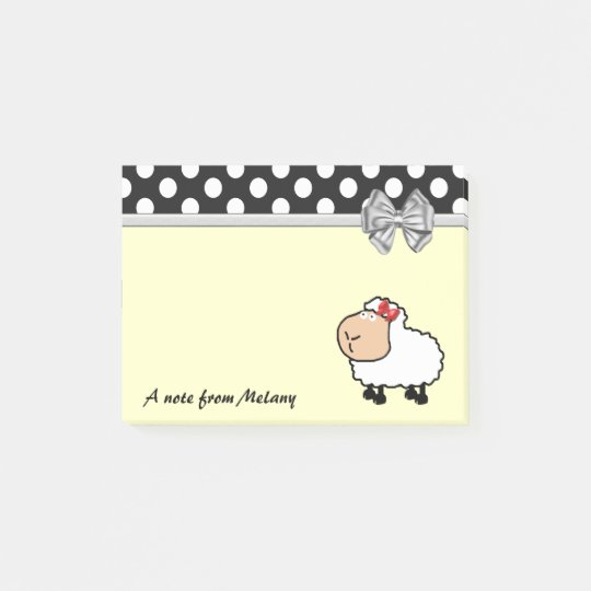 Funny cute girly sheep polka dots monogram post-it notes