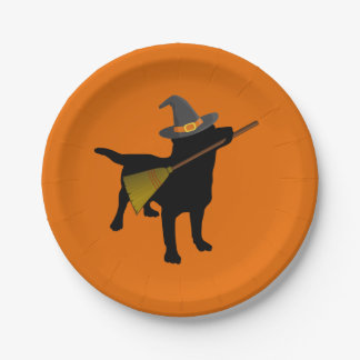 Funny Cute Halloween Black Lab Dog with Witch Hat Paper Plate