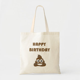 Funny Cute Happy Birthday Party Poop Emoji Tote Bag