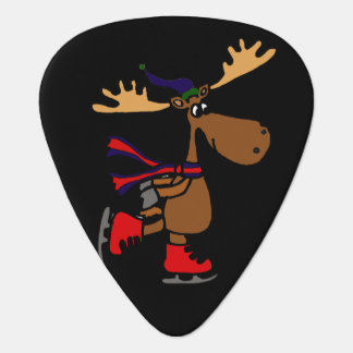 Funny Cute Ice Skating Moose Cartoon Plectrum