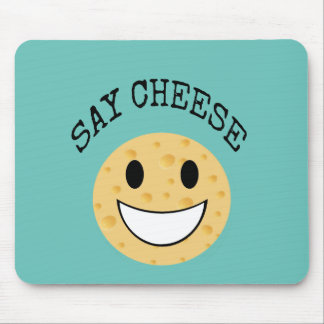funny cute joke say cheese mouse pad