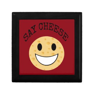 funny cute joke say cheese small square gift box