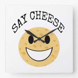 funny cute joke say cheese square wall clock