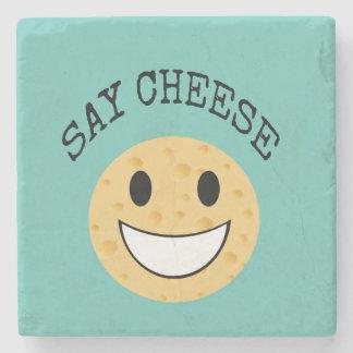 funny cute joke say cheese stone coaster